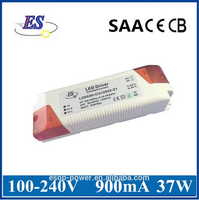 37.8W 900mA AC DC Constant Current LED Driver Power Supply with SAA CE CB