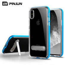 New design handphone casing accessory phone case for iphone x,pc frame + transparent tpu combo stand cover for iphone x