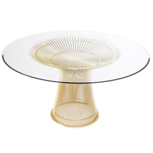 Modern design furniture glass top stainless steel legs round wire coffee table