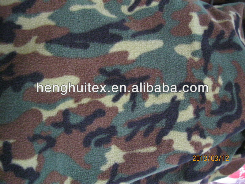 Polyester military/army desert Camouflage print polar fleece fabric