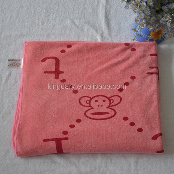 soft velvet microfiber bath towel for child