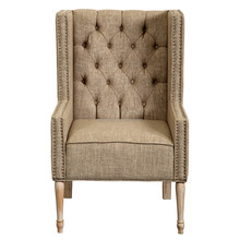 Rustic french provincial upholstered button tufted nail trim high wing back chair