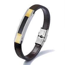 Inlaid Carbon Fibre Gold Color Wristband Jewelry Gift Leather Bracelets For Men