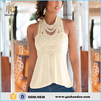 Summer High Fashion Unique Neck Designs Sleeveless Pure Color Cotton Tops For Ladies