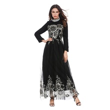 2018 New Model Abaya in Dubai Islamic Lace and Yarn with Embroidery Elegant Abaya Fabric Fashion Design Muslim Abaya Dress