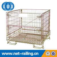Warehouse storage metal folding stacking industrial wire mesh cages