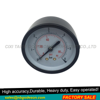 Axial bourdon type tube pressure gauge