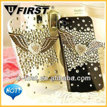 The Angel wing diamond Bling Case,Pearl bling case for Apple iphone 4 4S