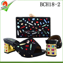 BCH18 Queency Italian Leather Matching Fancy Black Shoes and Bags Set for African Evening Party Women Wear