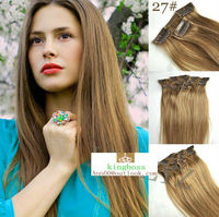 16clips indian human hair extensions #27 honey blonde 7pcs(16clips)/set,100g weight ,length from12inch to24inch 26inch 32inch