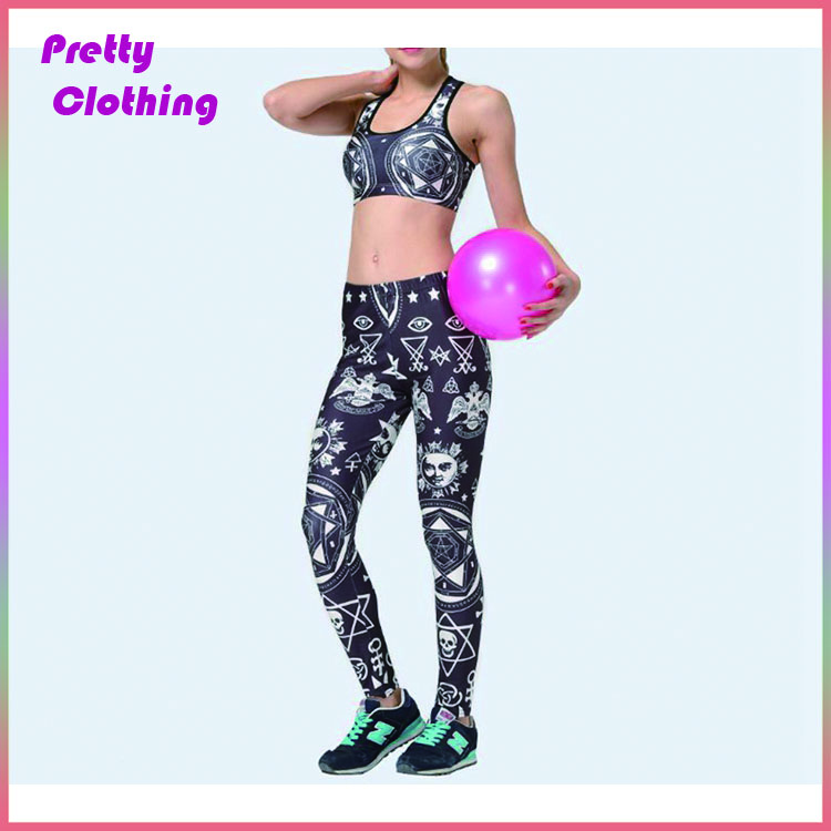 Womens sports suit geometric floral printed tights pants and bras set
