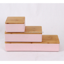 pink concrete Jewelry box with wood or bamboo lid
