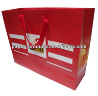 Red gloss large gift paper bag with logo gold hot stamping