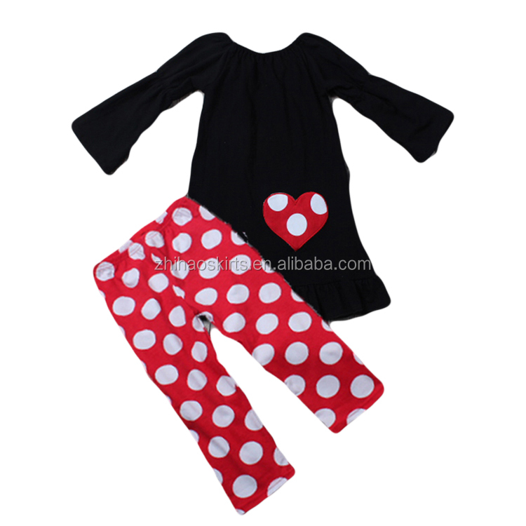 newest valentine outfits love embroidery black long t-shirts set &pants girls wholesale boutique valentine clothing