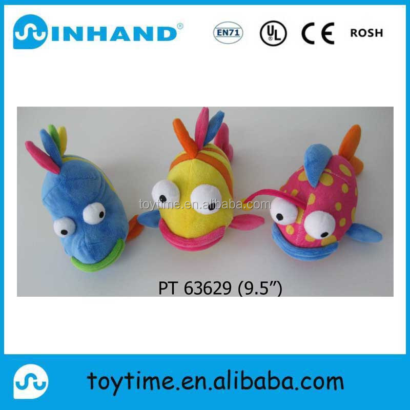 wholesale small customised cute plush Fish toy/colorful stuffed fish toy promotional gift
