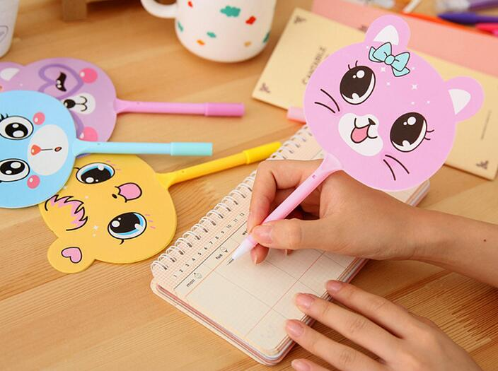 DIY creative stationery kids personalized Novelty Fans Design cartoon cute Cat Face Printing Ball Point Pen Names Ball Pens