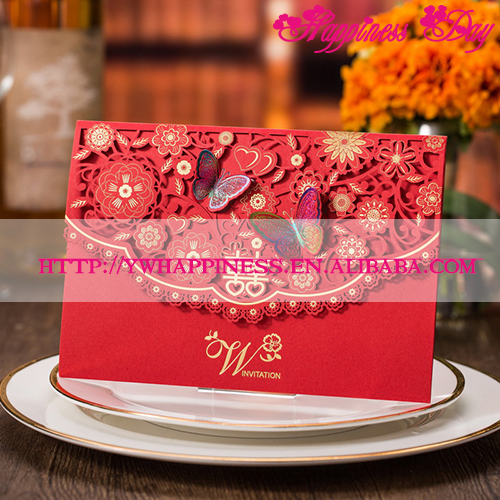 Chinese Red Laser Cutting Flower Butterfly Wedding Invitation Cards