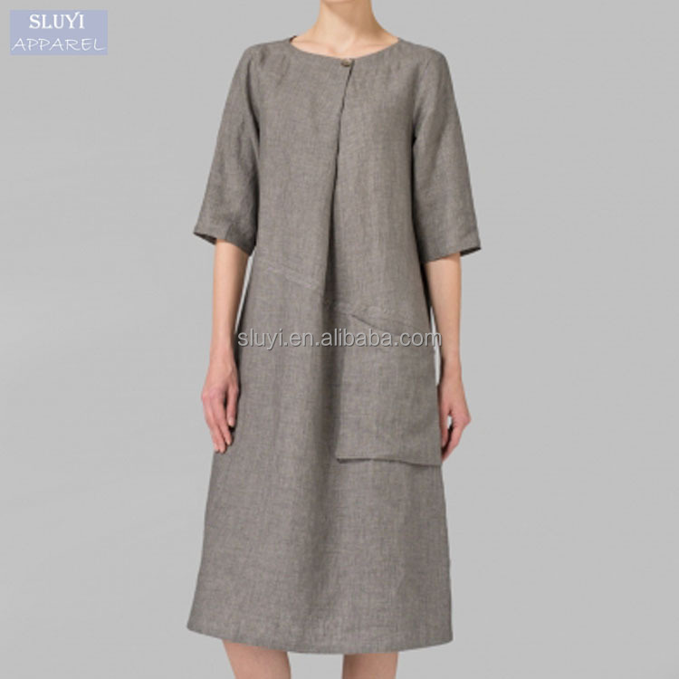 chocolate brown dresses Pleated loose plus size women dress linen short sleeve dresses