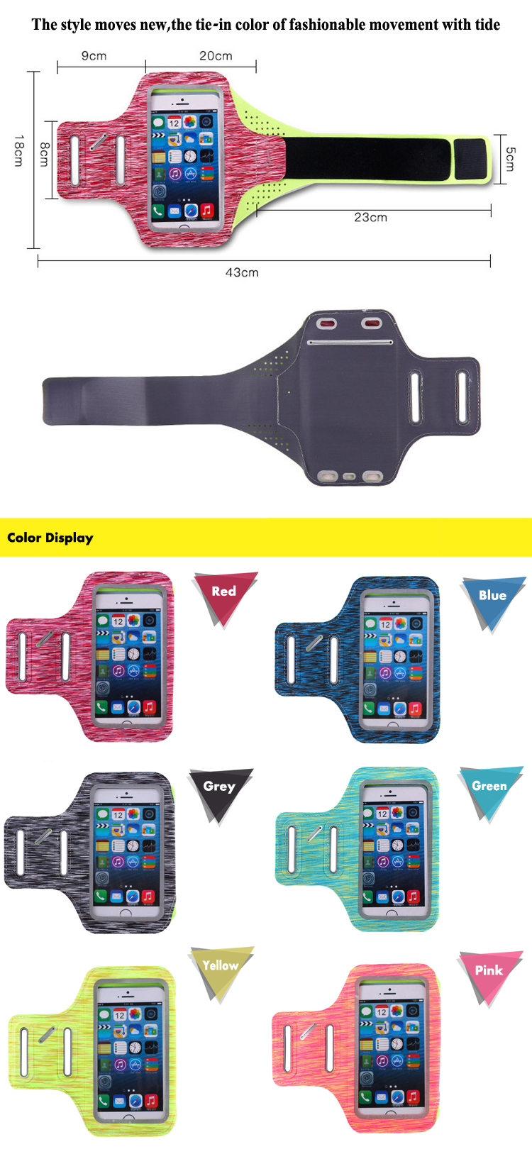 Running armband neoprene mobile phone Sport Armband Case with Key Holder