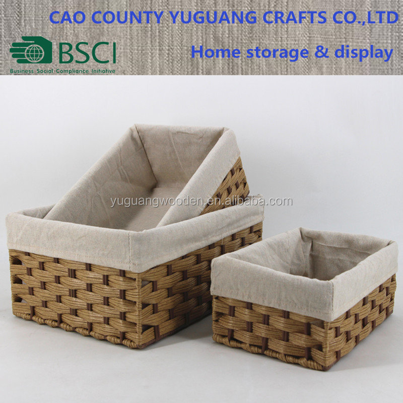 Durable PE wicker corn bran bread or sundry storage tray with liner