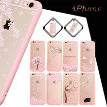 Ultra-thin TPU Rubber Cherry Series Blossom Sakura tree print cases clear transparent custom phone case for iphone 6 6S Plus