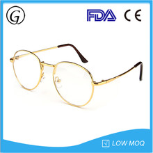 Gold Full Rim Adults Vintage Round Eyeglasses Frame with Silicon Nose Pads 2017