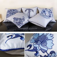 Cheap OEM Wholesaler China Style Blue & White Porcelain Cotton Cushion To Cover Hand Embroidery Design For Home Decoration S013