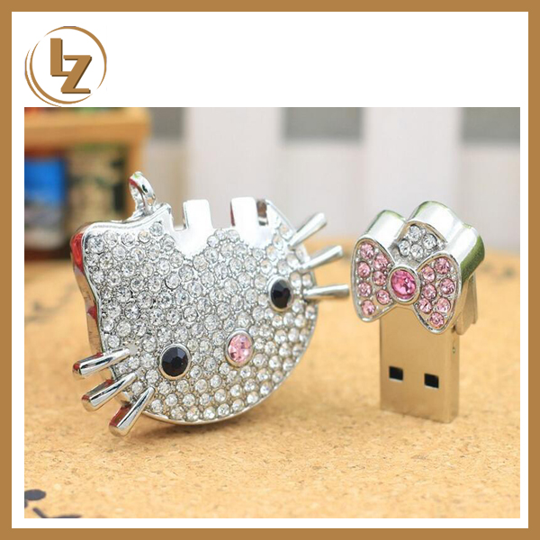 Jewelry USB Flash Stick Hello Kitty Fancy Pen Drive for Wedding Gift
