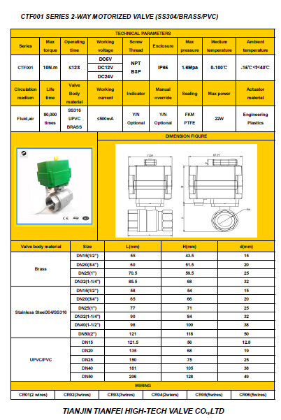 CR02 CR03 CR04 24vdc SS304 Motorized ball valve with manual operation