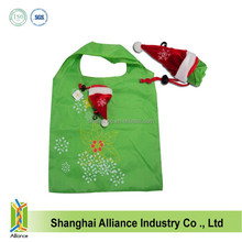 Christmas Hat shaped foldable bag/190T polyester Folding bags
