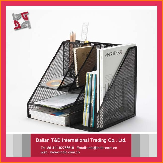 B8021 Innovation Office Cheap New Pattern Promotional Metal Mesh Pencil Case Holder Desktop Paper Organizer
