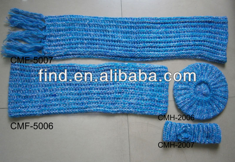 fashion winter blue color scarf ,hat and glove set