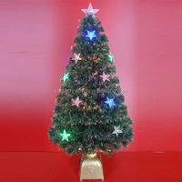 Colour LED Star Decor 4' Green Fiber Optic Christmas Trees