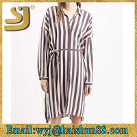 Modern long sleeves new ladies 2015 stripes woman cheap t shirt dresses
