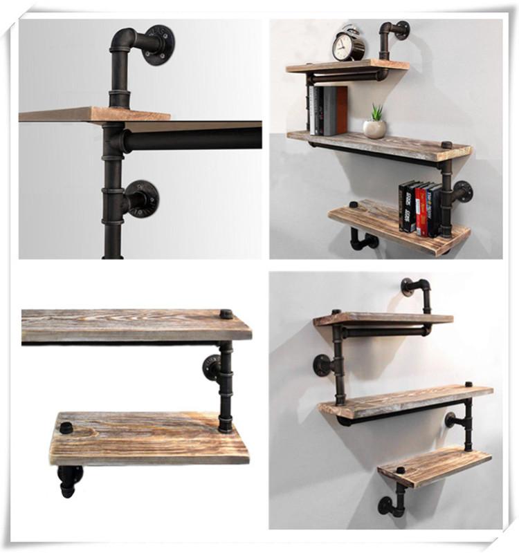 Industrial Rustic Modern Wood Ladder Pipe Wall Shelf 3Layer Pipe Design Bookshelf Diy Shelving