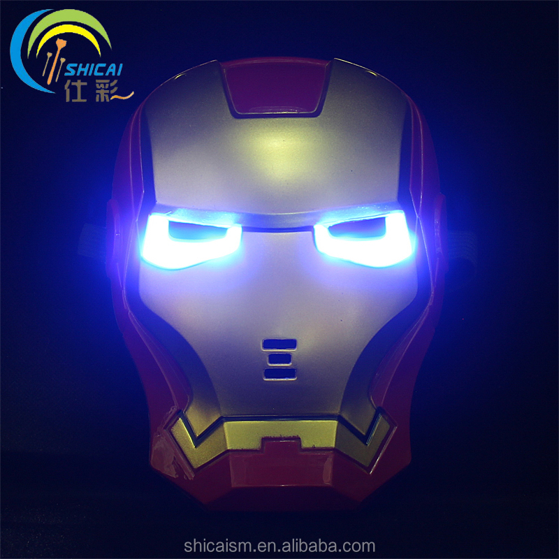 Glowing Iron Man cartoon mask animation movie theme hero mask Cosplay children party dress up props