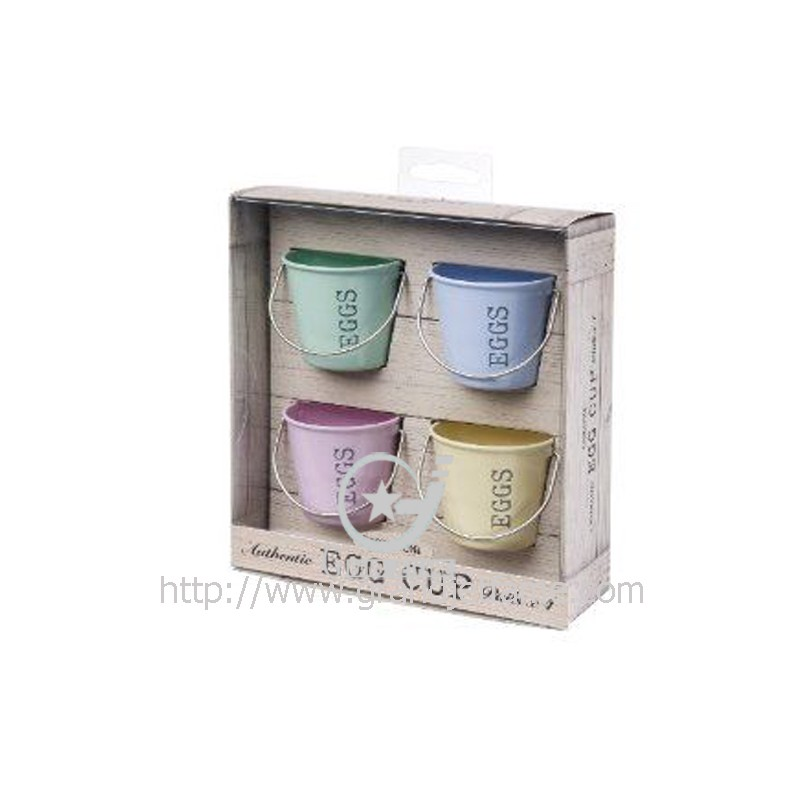Adorable Metal Set of 4 Egg Cups Buckets
