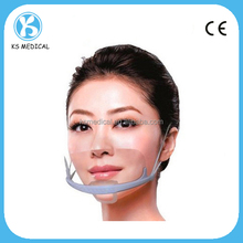 Single anti-fog transparent plastic face mask for food service
