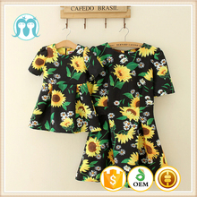 Wholesale clothes mother and kids match dresses sunshine flower baby clothing women dress