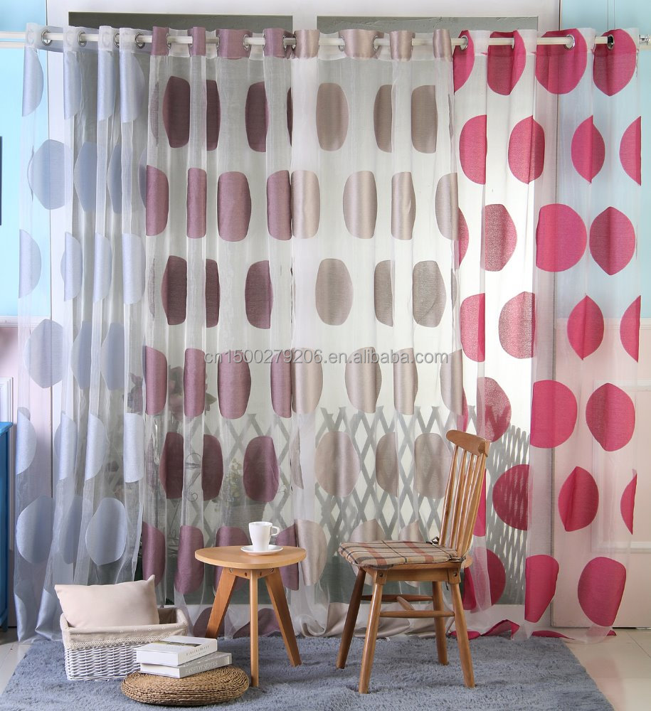 new design 2016 flocking burnout curtain fabric ready made curtain window curtains