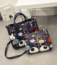 Foreign wholesale 2 in 1 cartoon printed womens' bag hand bagslarge capacity women shoulder bags tote bag