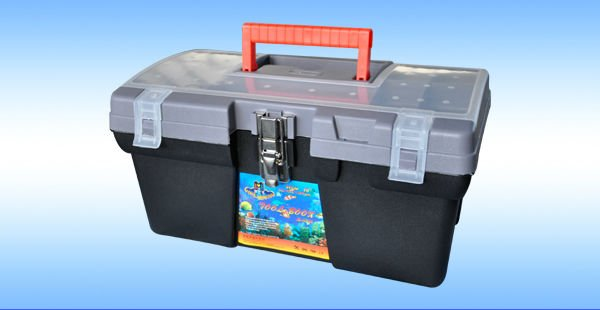 "16"" blow mold hard plastic tool case with metal lock"