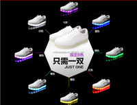 Hot Men Women Genuine Leather White Sport Shoes With Colorful Led Lighted Fashion Night Light Sneaker