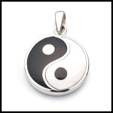 New product wholesale silver plating black&white enamel 20mm yin yang pendant