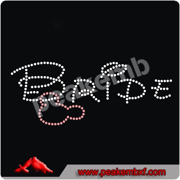 Iron on Bride Transfer Rhinestone Hot Fix Motifs for Wedding Dress
