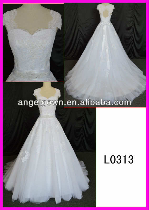 high quality low price lace beading keyhole back wedding dress 2014 bridal gown