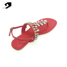 Fashion simple design lady beautiful fancy flat sandal made in china