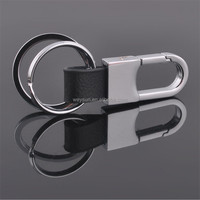 Business Men Silver Leather Waist Belt Metal Double Rings Key Chain Keyring KeyFob Key Holder Clip Charming Gift