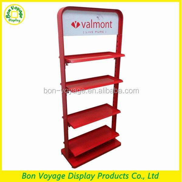 high quality metal floor drinking glass display rack for supermarket sales