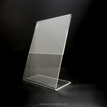 "Clear Acrylic 4"" x 6"" Slant Back Display Sign Holder Lucite Menu Holder"